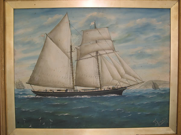"Painting of ""The Kate"", 1903, built by Henry Graves for the Quirk family. The ship was built in Peel on the site which became Quirk's coal yard now the site for new apartments. (Unknown artist)."