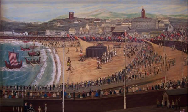 This painting was bought by the Leece Museum Trust. It was painted by Mrs Cannan-Bleakley of Peel. It is of the the first Peel Viking Festival in 1961. It shows a fine record of Peel in the early 1960s.