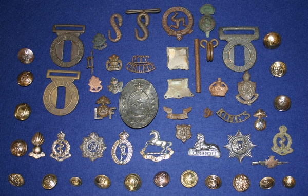 Military badges, belt fittings, buttons, 18th - 20th Century