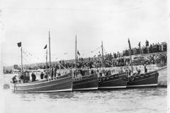 Peel breakwater christening boats