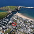Aerial view of Peel showing location of Driftwood Holiday Cottage