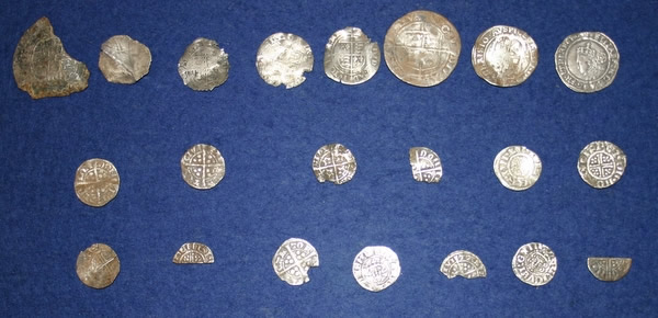 Hammered coinage, top row Tudor 16th & 17th Century; Middle and Bottom rows Medieval 11th & 12th Century