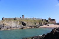 Peel castle from Fenella beach, on a sunny May Day, by Colin Watterson