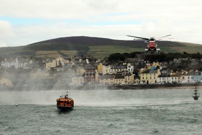 Joint exercise Peel lifeboat and Coastguard helicopter by Dave Corkish