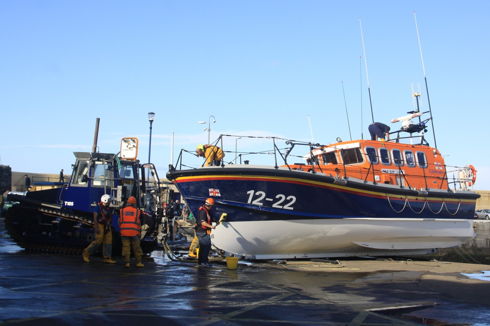 Peel Lifeboat Ruby Clery's September return to Peel after a summer-long repair to her hull in the south of England. She is seen entering the Bay for the first time, passing her summer replacement, the Mary Margaret, up the ramp and on station again on the breakwater. By Tony Faragher